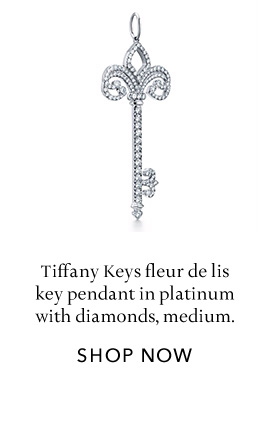 Platinum with Diamonds Fleur de Lis Key Pendant